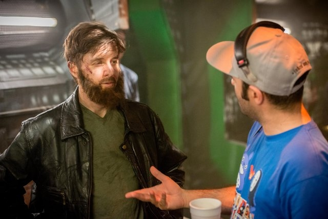 "Henderson director Shahab Zargari speaks with cast member Yuri Lowenthal behind the scenes on the set of ""The Crystal Crypt."" The film is set to screen at 5 p.m. Aug. 7 at the Gibson Library, 100  ..."