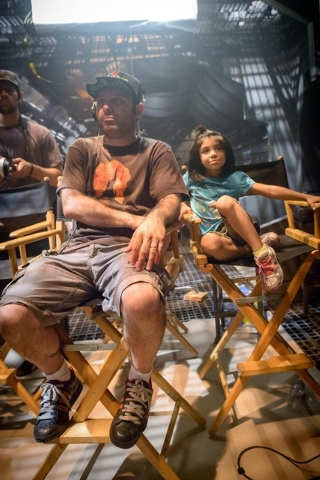 "Henderson director Shahab Zargari and his daughter take a break behind the scenes on the set of ""The Crystal Crypt."" The film is set to screen at 5 p.m. Aug. 7 at the Gibson Library, 100 W. Lake M ..."