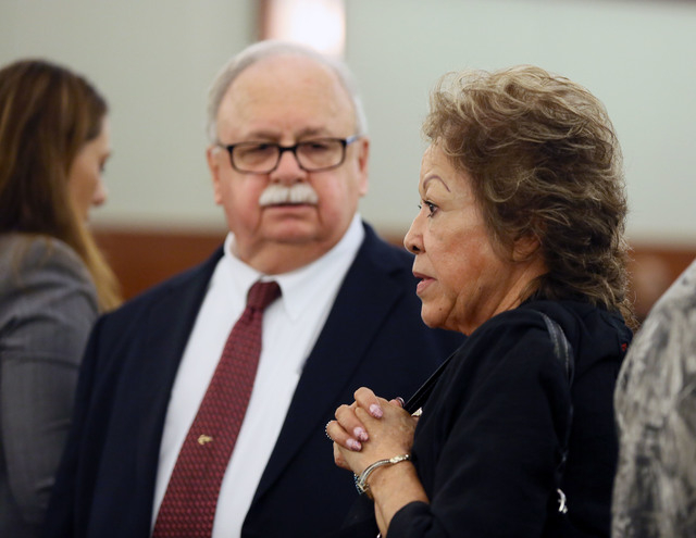 Priscilla Rocha, right, appears in Judge Kenneth Cory's courtroom at Regional Justice Center with Attorney Thomas Pitaro. (Ronda Churchill/Las Vegas Review-Journal)