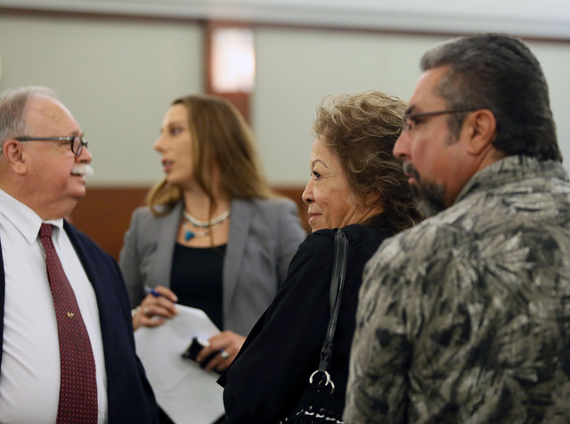 Attorney Thomas Pitaro, far left, Priscilla Rocha, right center, and Donnie Placencia, appear in Judge Kenneth Cory's courtroom at Regional Justice Center Monday. (Ronda Churchill/Las Vegas Review ...