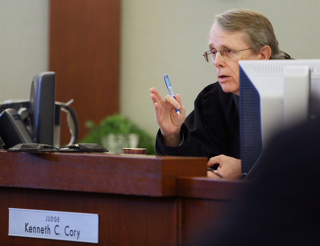 Judge Kenneth Cory presides over the case of Priscilla Rocha and four other defendants at Regional Justice Center Monday. (Ronda Churchill/Las Vegas Review-Journal)