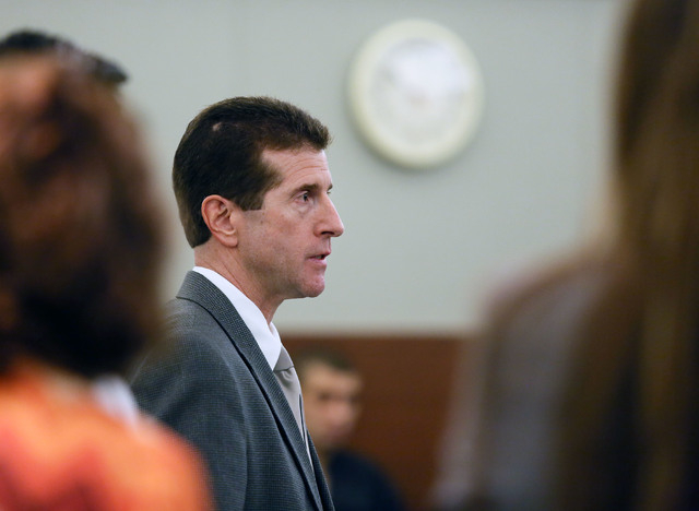 Chief Deputy District Attorney Michael Staudaher speaks during the arraignment of Priscilla Rocha and four other associates in Judge Kenneth Cory's courtroom Monday. (Ronda Churchill/Las Vegas Rev ...