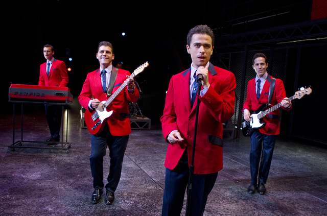 "Rob Marnell, from left, Deven May, Graham Fenton and Jeff Leibow in ""Jersey Boys."" (Joan Marcus/Courtesy)"