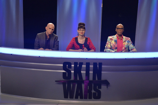 "From left, Craig Tracy, Robin Slonina and RuPaul judge GSN's ""Skin Wars."" (Courtesy photo)"