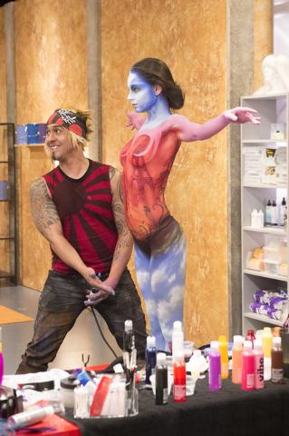 """Las Vegas artist Gear Boxxx shows off a work in progress on GSN's """"Skin Wars."""" (Courtesy photo)"""