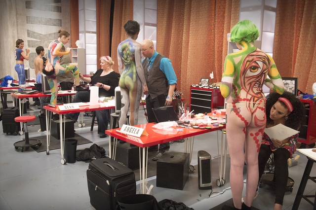 "Contestants compete in a body-painting challenge on GSN's ""Skin Wars."" (Courtesy photo)"