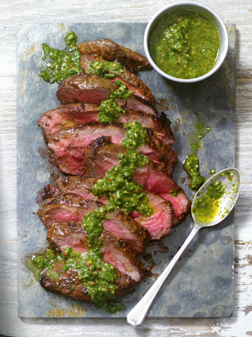 Dry-rub steak with chimichurri sauce (Courtesy)