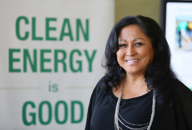 Annette Bubak, builder sales manager of SolarCity, the nation's largest solar power provider, works with home builders to have solar energy in new developments. (Ronda Churchill/Las Vegas Review-J ...