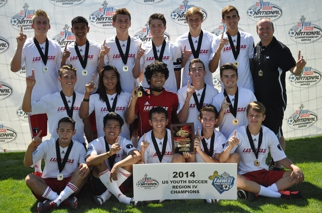 Top row, from left, are U17 Boys US Youth Soccer Far West Regional Champion team members Matthew Fike, Daniel Moran, Tristan Blackmon, Austin Manthey, Austin Polster, Justin Lyons and coach Jeff M ...