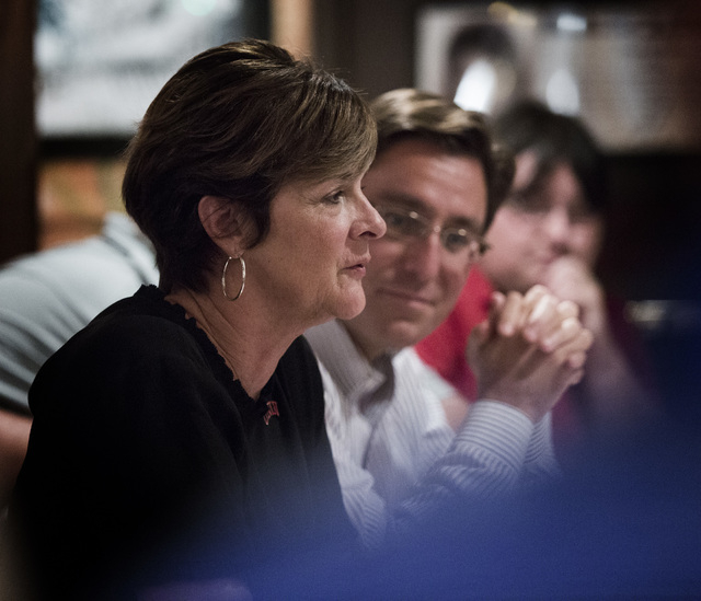 UNLV athletic director Tina Kunzer-Murphy discusses the state of the athletic department during a media luncheon at Buca di Beppo, 412 East Flamingo Road, on Tuesday, July 29, 2014. On her right i ...