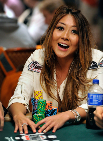 Poker player Maria Ho, reacts during day 2A/2B of the World Series of Poker Main Event at the Rio hotel-casino on Tuesday, July 8, 2014. (David Becker/Las Vegas Review-Journal)