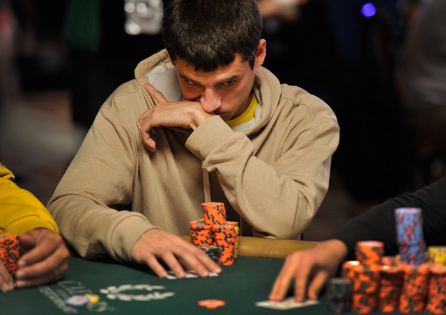Stephen Graner of Las Vegas, ponders his bet during day four of the the World Series of Poker Main Event at the Rio hotel-casino on Friday, July 11, 2014. (David Becker/Las Vegas Review-Journal)
