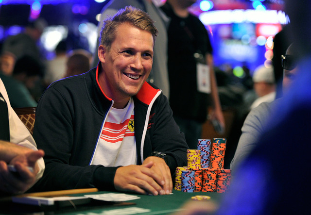 Per Karlsson smiles during day four of the the World Series of Poker Main Event at the Rio hotel-casino on Friday, July 11, 2014.  Karlsson started the day in eighth place. (David Becker/Las Vegas ...