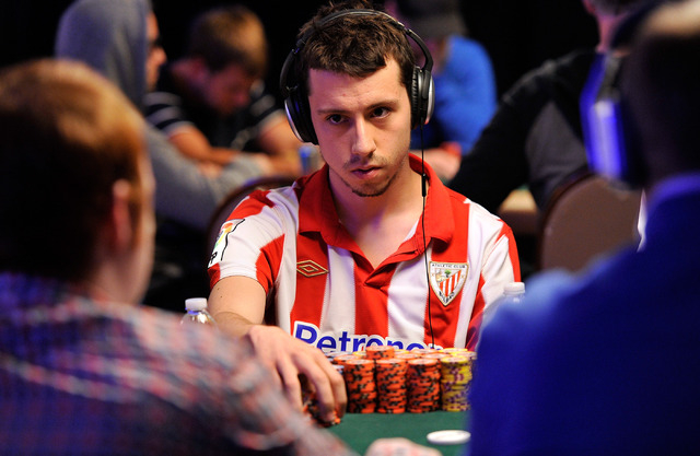 Andoni Larrabe-Sanchez looks on during day four of the the World Series of Poker Main Event at the Rio hotel-casino on Friday, July 11, 2014. Larrabe-Sanchez started the day in sixth place. (David ...