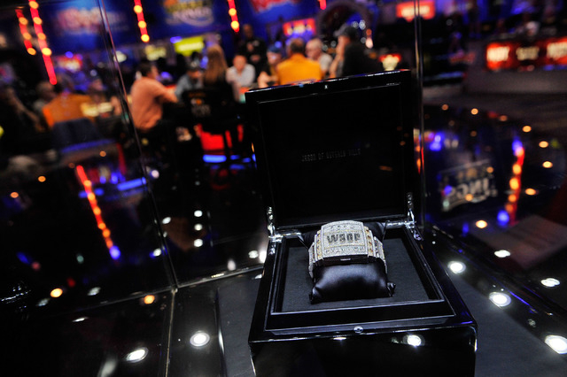 The 2014 WSOP championship bracelet is displayed during day four of the the World Series of Poker Main Event at the Rio hotel-casino on Friday, July 11, 2014. (David Becker/Las Vegas Review-Journal)