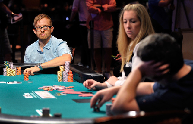 Martin Jacobson, left, stares down Andrey Zaichenko during day 7 action of the World Series of Poker Main Event at the Rio hotel-casino on Monday, July 14, 2014. (David Becker/Las Vegas Review-Jou ...