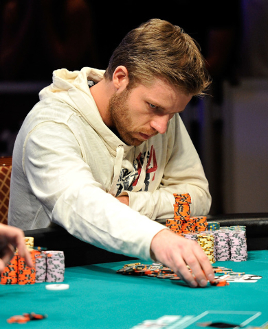 Jorryt van Hoof places a bet during day 7 of the World Series of Poker Main Event at the Rio hotel-casino on Monday, July 14, 2014. By the end, van Hoof is the chip leader with 38.375 million. (Da ...