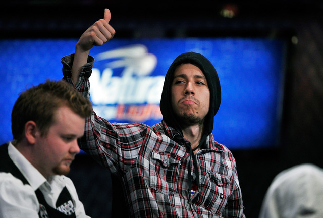 Andoni Larrabe signals to his fans during day 7 of the World Series of Poker Main Event at the Rio hotel-casino on Monday, July 14, 2014. (David Becker/Las Vegas Review-Journal)