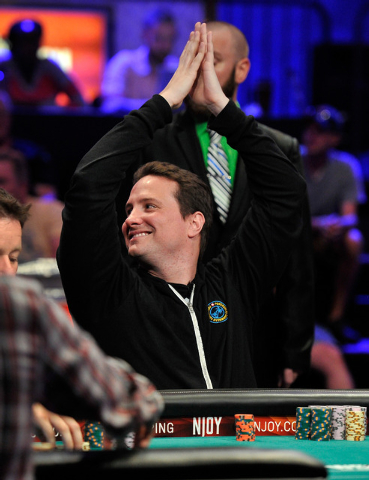 Bruno Politano acknowledges his fans in the stands during day 7 of the World Series of Poker Main Event at the Rio hotel-casino on Monday, July 14, 2014. (David Becker/Las Vegas Review-Journal)