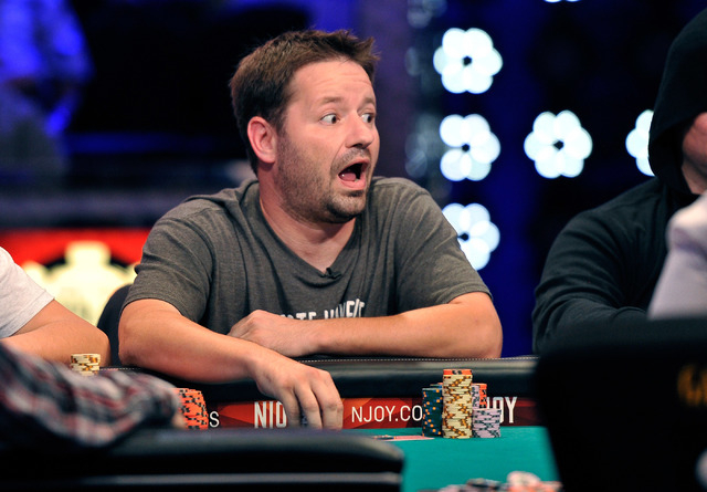 Thomas Sarra Jr. looks surprised after loosing a hand during day 7 of the World Series of Poker Main Event at the Rio hotel-casino on Monday, July 14, 2014. (David Becker/Las Vegas Review-Journal)