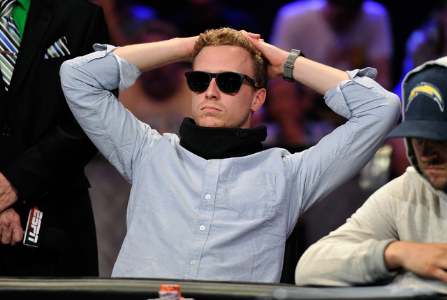 Maximilian Senft looks on during day 7 of the World Series of Poker Main Event at the Rio hotel-casino on Monday, July 14, 2014. (David Becker/Las Vegas Review-Journal)