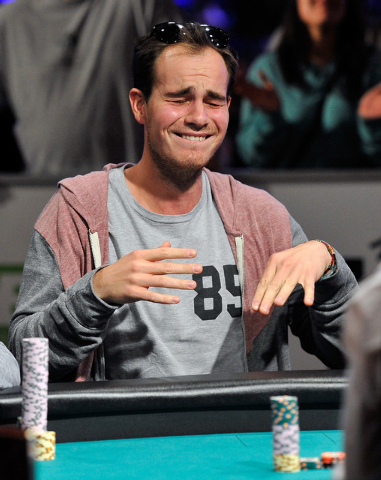 Oscar Kemps reacts after doubling up during day 7 of the World Series of Poker Main Event at the Rio hotel-casino on Monday, July 14, 2014. (David Becker/Las Vegas Review-Journal)