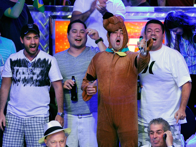 Fans of Bruno Politano cheer from the stands during day 7 of the World Series of Poker Main Event at the Rio hotel-casino on Monday, July 14, 2014. (David Becker/Las Vegas Review-Journal)