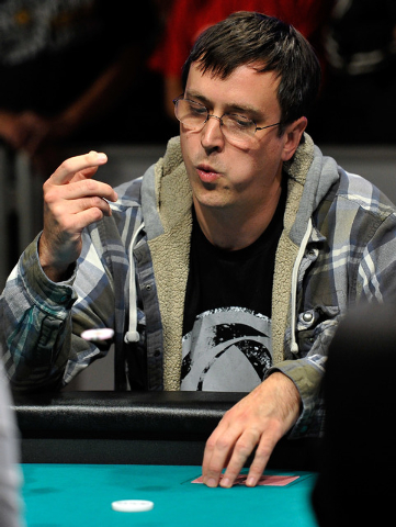 Christopher Greaves throws in his last chip during day 7 of the World Series of Poker Main Event at the Rio hotel-casino on Monday, July 14, 2014. (David Becker/Las Vegas Review-Journal)