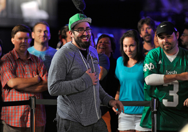 William Pappaconstantinou celebrates with his fans after doubling up during day 7 of the World Series of Poker Main Event at the Rio hotel-casino on Monday, July 14, 2014. (David Becker/Las Vegas  ...