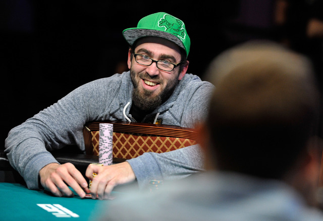 William Pappaconstantinou smiles while playing during day 7 of the World Series of Poker Main Event at the Rio hotel-casino on Monday, July 14, 2014. (David Becker/Las Vegas Review-Journal)