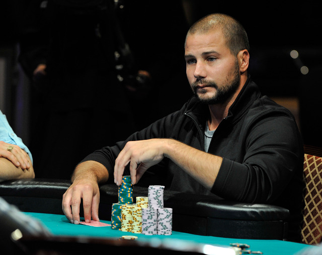 Dan Sindelar ponders his bet as he fiddles with his chips during day 7 of the World Series of Poker Main Event at the Rio hotel-casino on Monday, July 14, 2014. (David Becker/Las Vegas Review-Journal)