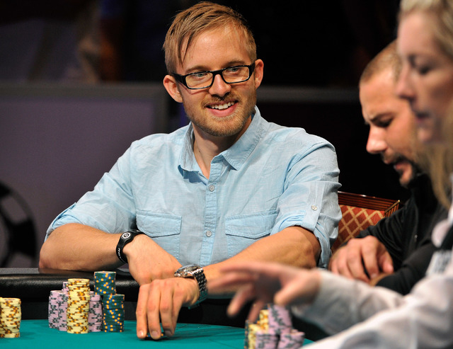 Martin Jacobson places a bet during day 7 of the World Series of Poker Main Event at the Rio hotel-casino on Monday, July 14, 2014. (David Becker/Las Vegas Review-Journal)