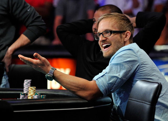 Martin Jacobson reacts during the action day 7 of the World Series of Poker Main Event at the Rio hotel-casino on Monday, July 14, 2014. (David Becker/Las Vegas Review-Journal)