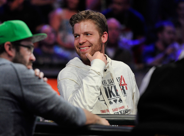 Jorryt van Hoof smiles during day 7 of the World Series of Poker Main Event at the Rio hotel-casino on Monday, July 14, 2014. (David Becker/Las Vegas Review-Journal)