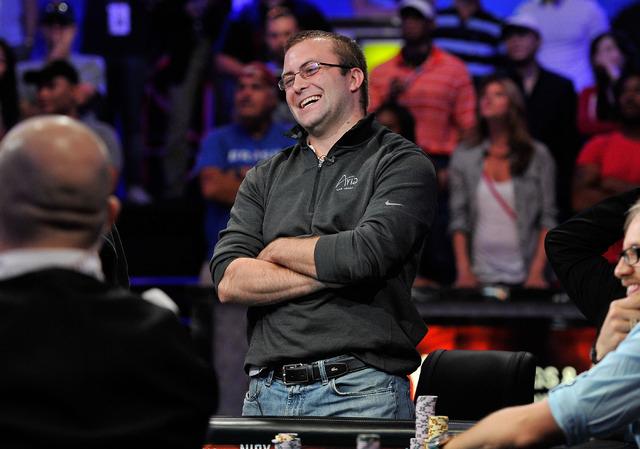 William Tonking smiles after doubling up during day 7 of the World Series of Poker Main Event at the Rio hotel-casino on Monday, July 14, 2014. (David Becker/Las Vegas Review-Journal)