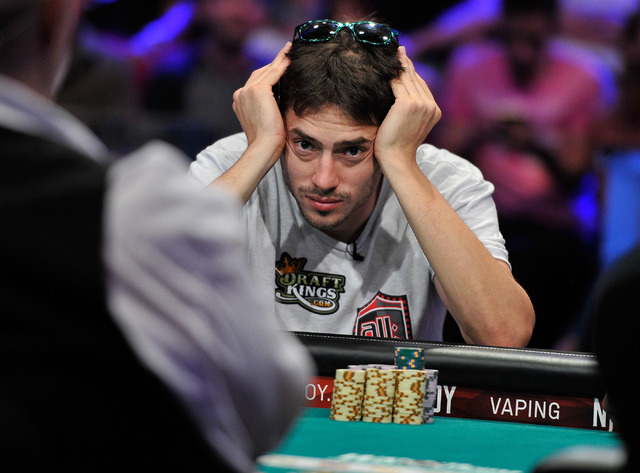 Mark Newhouse watches the action during day 7 of the World Series of Poker Main Event at the Rio hotel-casino on Monday, July 14, 2014. (David Becker/Las Vegas Review-Journal)
