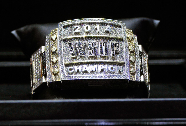 The 2014 WSOP championship bracelet is on display during day 7 of the World Series of Poker Main Event at the Rio hotel-casino on Tuesday, July 15, 2014. (David Becker/Las Vegas Review-Journal)