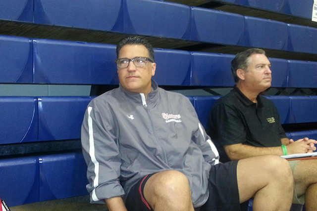 St. John's men's basketball coach Steve Lavin watches the action during the Las Vegas Fab 48 at Bishop Gorman on Friday. (W.G. Ramirez/Las Vegas Review-Journal)