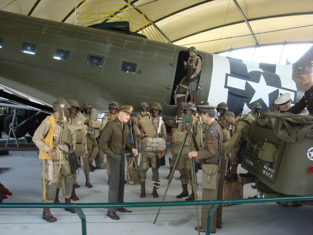 A paratrooper exhibit in St. Mere Eglise, France, depicts General Dwight D. Eisenhower with the troops as part of the D-Day 70th Anniversary commemoration. (Courtesy Ron Deanne)