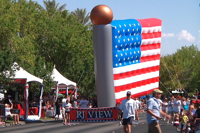 The Annual Summerlin 4th of July Parade celebrated it's 20th year and was named an official event of the Nevada's Sesquicentennial Jubilee by Governor Brian Sandoval. Over 2,500 people and 70 entr ...
