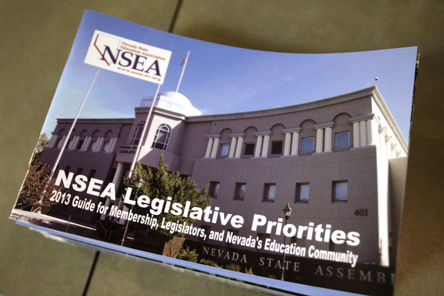 A packet of Nevada State Education Association legislative priorities is seen at a press conference at NSEA headquarters in Las Vegas on Thursday, Jan. 31, 2013. Today the Nevada Supreme Court uph ...