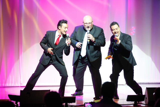 The Las Vegas Tenors, from left, Lou Gazzara, Bobby Black and Shai Yammanee, perform at Shimmer Cabaret at the Westgate hotel-casino in Las Vegas on Thursday, July 3, 2014. (Chase Stevens/Las Vega ...