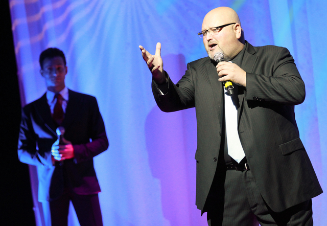 Bobby Black, right, of The Las Vegas Tenors performs as Lou Gazzara looks on at Shimmer Cabaret at the Westgate hotel-casino in Las Vegas on Thursday, July 3, 2014. (Chase Stevens/Las Vegas Review ...