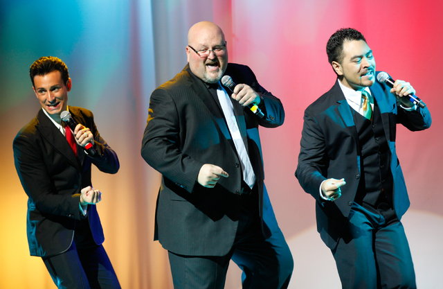 The Las Vegas Tenors, from left, Lou Gazzara, Bobby Black and Shai Yammanee, perform at Shimmer Cabaret at the Westgate in Las Vegas on Thursday, July 3, 2014. (Chase Stevens/Las Vegas Review-Journal)