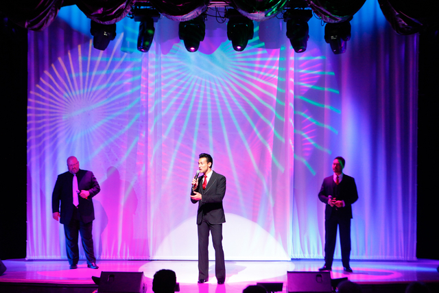 The Las Vegas Tenors, from left, Bobby Black, Lou Gazzara and Shai Yammanee, perform at Shimmer Cabaret at the Westgate hotel-casino in Las Vegas on Thursday, July 3, 2014. (Chase Stevens/Las Vega ...