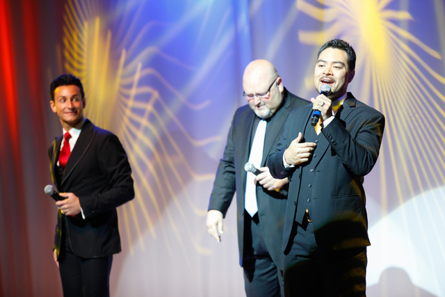 Shai Yammanee of The Las Vegas Tenors, right, performs with Lou Gazzara, left, and Bobby Black at Shimmer Cabaret at the Westgate hotel-casino in Las Vegas on Thursday, July 3, 2014. (Chase Steven ...