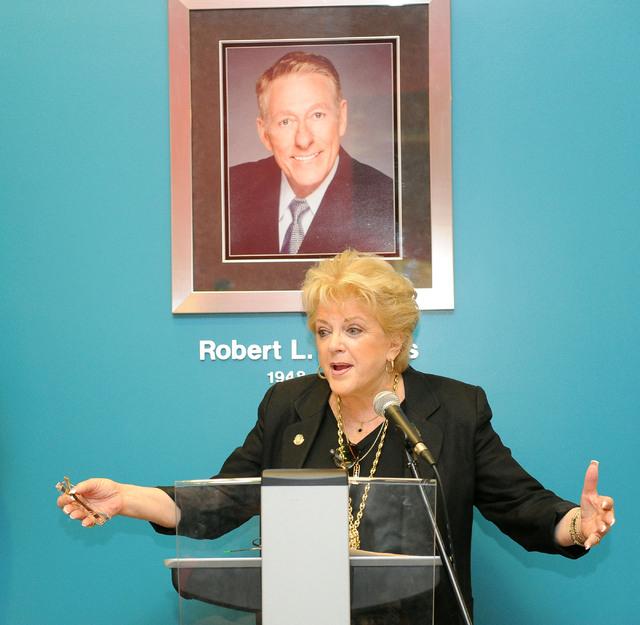 Las Vegas Mayor Carolyn Goodman gives opening remarks at the ribbon-cutting event signifying a partnership between City of Las Vegas, The Center and UNLV at The Center in downtown Las Vegas, Thurs ...