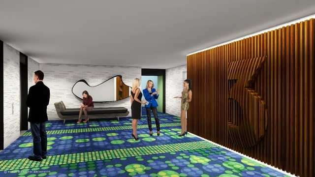 A rendering of an elevator lobby at the Linq Hotel & Casino. The name change will become official in October. (Photo courtesy of Caesars Entertainment)