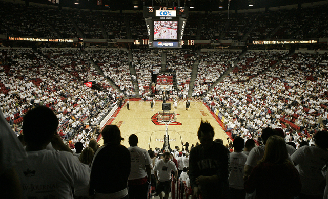 """UNLV fans fill the seats while wearing white shirts during the senior game, aka """"White-Out Night"""" at the Thomas & Mack Center Saturday, March 3, 2007, in Las Vegas. (File, JOHN LOCHER/LAS VEGAS RE ..."""