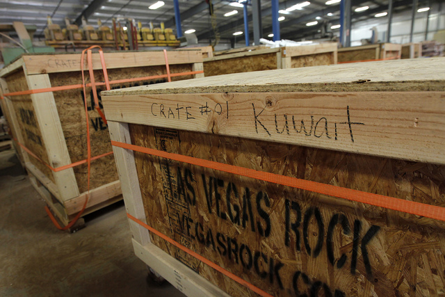 Crates filled with finished product await shipment to Kuwait at the Las Vegas Rock Inc. stone fabrication and cutting facility in Jean on Tuesday, July 29, 2014. (Jason Bean/Las Vegas Review-Journal)